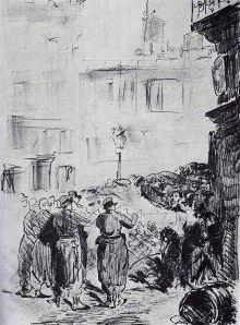 Les barricades - gravure de Manet